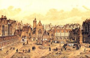 Podoba neblaze proslulého pařížského Hřbitova neviňátek v polovině 16. století.