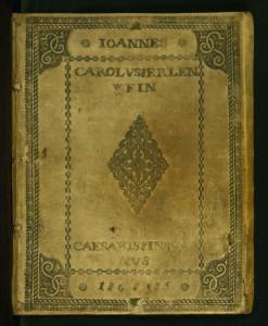 Kniha přátelství založená roku 1615 fiktivním Joannesem Erlenweinem