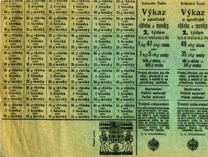 """Potravinové lístky v Království Českém na """"2. týden 18. 4. 1915 až včetně do 24. 4. 1915""""."""