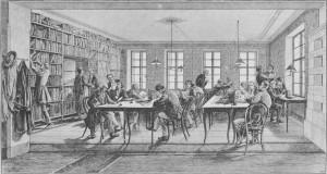 Redakční místnost Ottova slovníku naučného v roce 1891.
