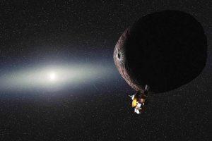 Umělcova představa sondy mířící ke Kuiperovu pásu.