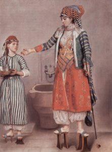 V 18. století obouvají některé turecké ženy pořádně vysoké dřeváky.