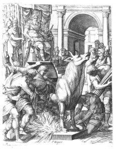 Upečení v břiše bronzového býka