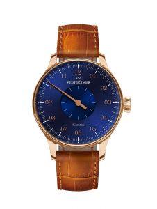 Velká poptávka po jednoručkových hodinkách v Anglii způsobila, že londýnský Harrods poptal pro své klienty dvě edice zlatých hodinek MeisterSinger. Dvakrát 12 kusů Circularis imponovalo temně modrým a slonovinovým číselníkem s arabským reliéfem. Uvnitř pracuje vlastní strojek s manuálním nátahem, který díky dvojici pérovníků dokáže pracovat pět dní v kuse při jediném nátahu. Cena: 400 000 Kč.