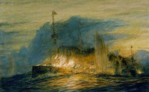 Britský křižník Good Hope jde po výbuchu skladiště střeliva ke dnu i s Christopherem Craddockem.