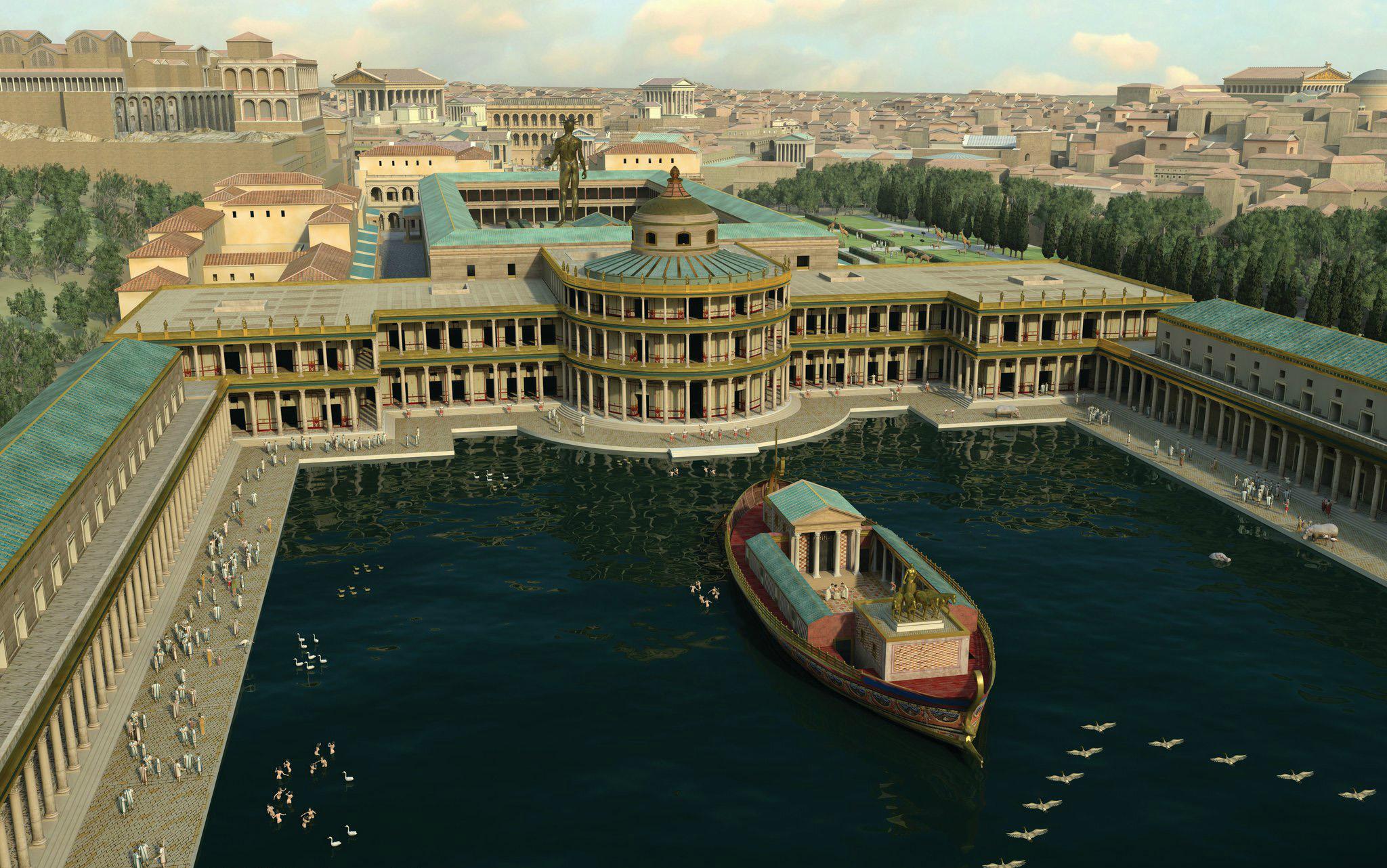 Nynější palác je jen zlomkem toho, co k němu kdysi patřilo. U obří stavby, která se táhla mezi dvěma římskými pahorky, stála také rozsáhlá vodní nádrž, napodobeniny města i venkova a dokonce i umělý les.