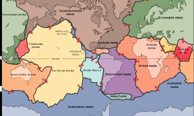 Mapa hlavních tektonických desek.