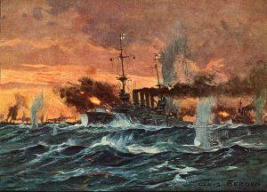 Zatímco Britové přijdou o dvě lodě a více než 1 600 námořníků, Němci mají jen tři raněné.