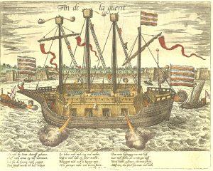 """2) Obleženým nepomůže ani těžce obrněná loď Finis Bellis (Konec války). Španělé ji posměšně nazvou """"Vyhozený prachy"""""""