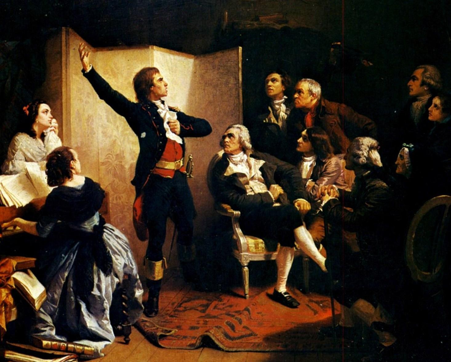 Rouget de Lisle složí píseň přes noc.