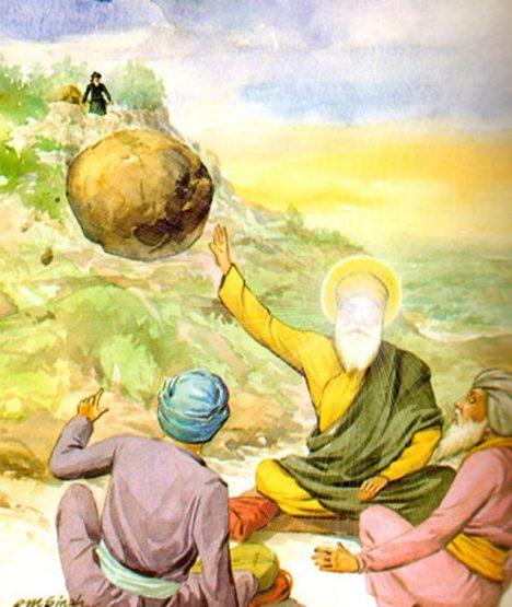 Skutečně zastavil guru Nának vržený balvan pouze dlaní?