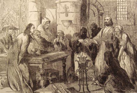 Právě v pátek třináctého začalo ve Francii zatýkání templářů. Na obrázku je velmistr řádu Jakub z Molay u výslechu.