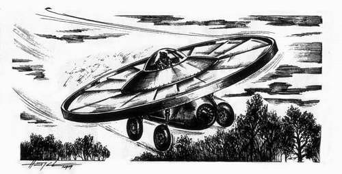 Nákres tajného letounu Flugelrad.