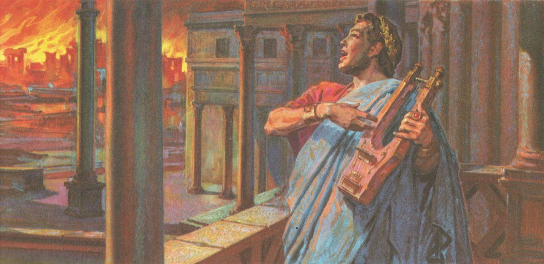Během požáru prý Nero recitoval o dobývání Tróje, slavného města, do něhož princ Paris unesl princeznu Helenu, nejkrásnější ženu Řecka.