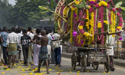 GINGEE, INDIA - CIRCA OCTOBER 2013: A funeral procession with only male participants proceeds through the streets of Gingee. The deceased man is exposed on a pushcart covered with flowers.