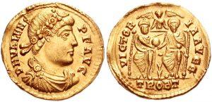 Solidus znázorňující císaře Valenta
