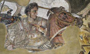 Detail mozaiky zobrazující Alexandra Velikého.