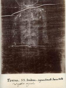 Negativ fotografie Turínského plátna, pořízený 28. května 1898.