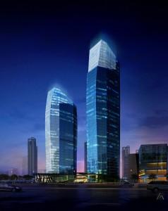 Dvě výskové budovy Tiandu projektované pro Allied Architects International