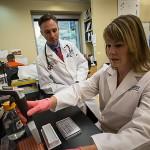 Vědci na Huntsman Cancer Institute při analýze sloní krve.