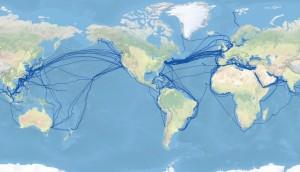 Optické kabely propojují všechny kontinenty.