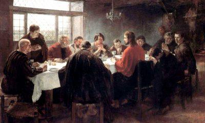 Ztvárnění Kristovy poslední večeře na obrazu německého výtvarníka Fritze von Uhdeho.