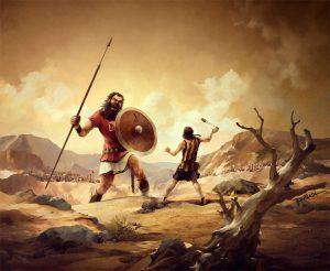 Souboj Davida s obrem Goliášem.