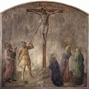 Setník Longinus probodává Ježíši bok, aby se přesvědčil, že je mrtvý a uchránil ho před zlámáním končetin.