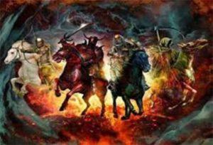Poslední soud zvěstuje příjezd čtyř příšerných jezdců Apokalypsy: Války, Hladu, Moru a Smrti.