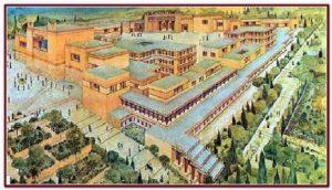 Nějak takto mohl vypadat palác Knossos v době své největší slávy. Co chránilo jeho zdi?