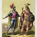 Španělský dobyvatel Hernán Cortés (vlevo) neměl problém dobýt Ameriku, protože indiáni věřili, že je bohem.