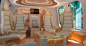 Finální podoba interiéru je jen otázkou požadavků a vkusu. Sedadla i stěny mohou být ozdobeny zlatem v kombinaci s dýhami vzácných dřev a jemnými kůžemi.