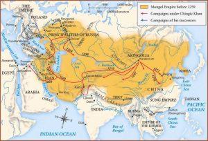 Mongolská říše patřila k největším impériím v dějinách. Kolem roku 1241 se rozkládala od Tichého oceánu až po Černé moře.