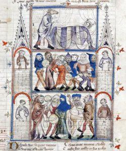 Takto se zachoval popis šarivari ve francouzské knize Roman de Fauvel z počátku 14. století.