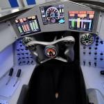 Kokpit rychlostního speciálu nepřipomíná tolik auto jako spíš křížence mezi stihačkou a kosmickou lodí.