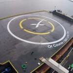 Takto vypadá plovoucí přistávací platforma pro raketu Falcon 9, na délku má skoro 100 metrů a umístěná je v Tichém oceánu.