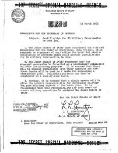 Toto je jedna stránka z odtajněného dokumentu, který popisuje plány na operaci Northwoods z roku 1962.
