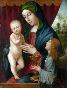 Obraz Panna a dítě s andělem
