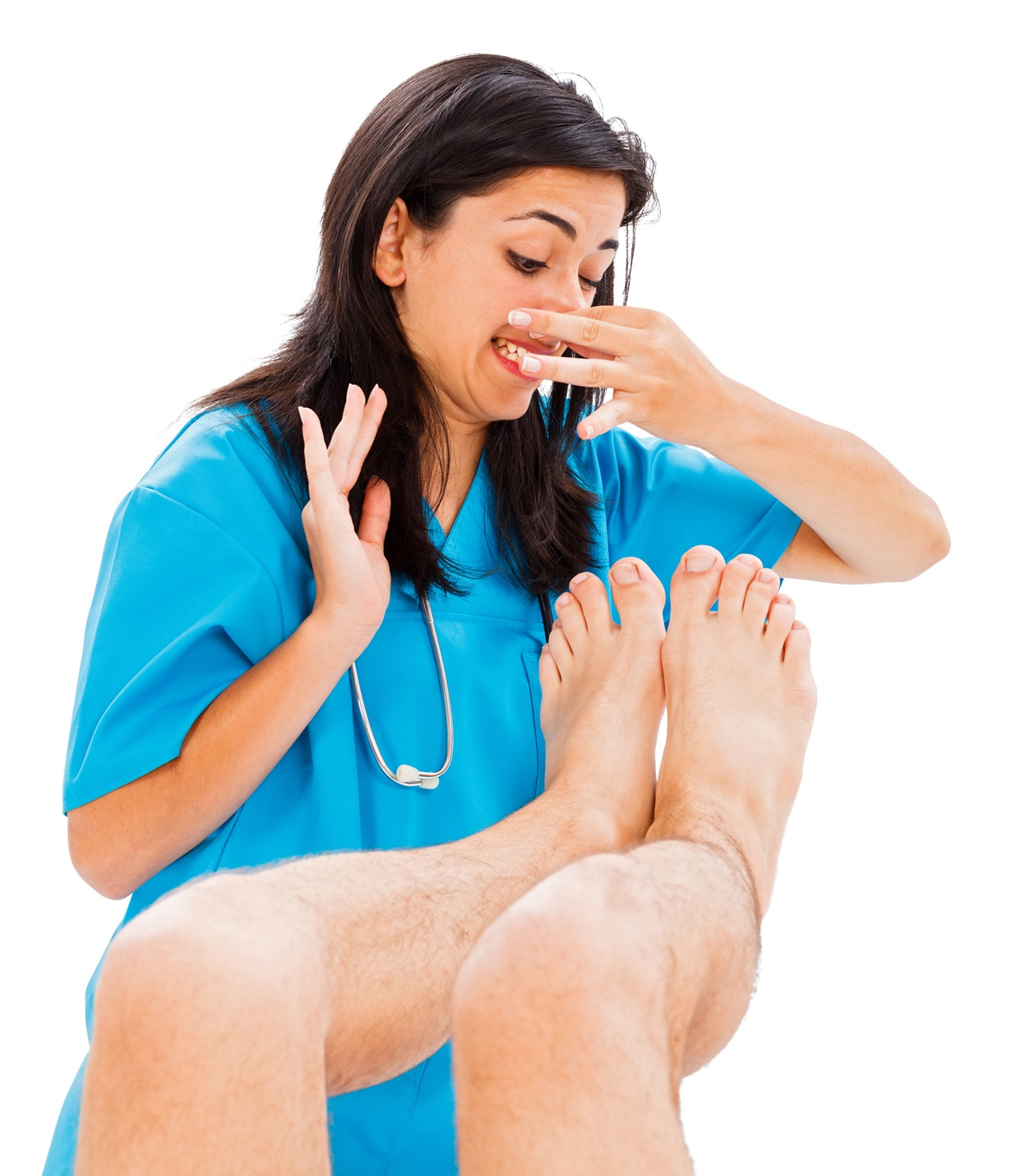 Doctor defending herself from stinky man feet – isolated on white.