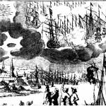 Ilustrace z Francisciho knihy ukazuje vesmírné lodě jako dobové námořní koráby zavěšené v oblacích.