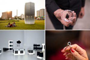 Čističky vzduchu designéra Daana Roosegaardea mají jednu zvláštní funkci. Uhlík odfiltrovaný ze vzduchu je stlačen do malých krychlí, ze kterých jsou pak vyráběny šperky.