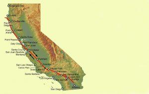 Mapa ukazuje část kalifornského pobřeží, kde se potkávají tektonické desky pohybující se opačným směrem.