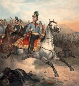 I v té největší bitevní vřavě zůstává Radecký vždy se svými vojáky.