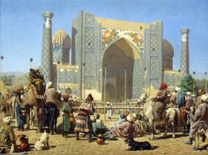 Klíčovým místem Hedvábné stezky je tajemné město Samarkand (na území dnešního Uzbekistánu).