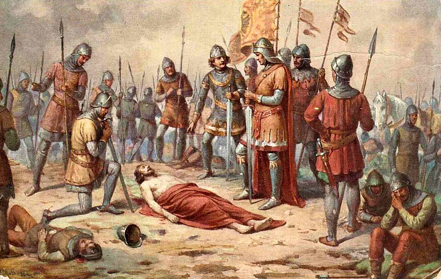 Král železný a zlatý umírá v bitvě na Moravském poli.