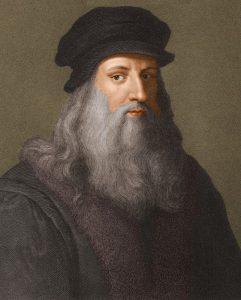 Leonardo da Vinci je myšlenkami antického architekta nadšen. Rád si listuje v jeho díle De Architectura.