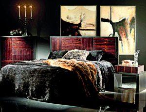 Luxusní postel je zhotovena z kombinace ebenového, dubového a dřeva stromu pao ferro.Od 350 000 Kč, Nella Vetrina