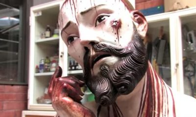 Tvář sochy Ježíše z Mexika.