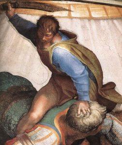 Nejznámějším Pelištejcem je Goliáš, kterého zabil David. Takto zpodobnil jeho smrt Michalangelo (1475 – 1564) na stěně Sixtinské kaple ve Vatikánu