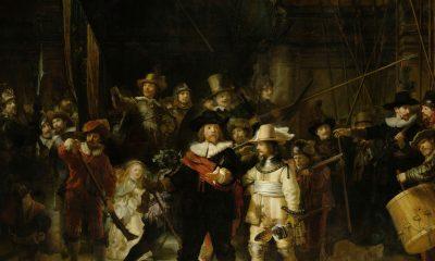 Jeden z nejslavnějších Rembrandtových obrazů známý jako Noční hlídka je ukázkou jeho práce se šerosvitem